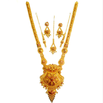 22k Fancy Designer Kolkati Long Necklace Set MGA - GLS014