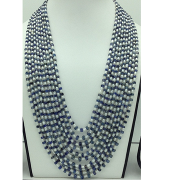Freshwater WhitePearls with Sapphires10Layers Necklace JPM0385