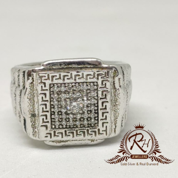92.5 silver classical gents ring Rh-Gr951