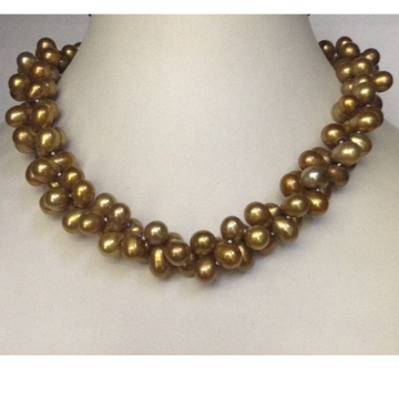 Freshwater Brown Drop Pearls 2 Layers Twisted Knotted Necklace