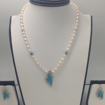 White CZ And Turquoise Pendent Set With Oval Pearl...