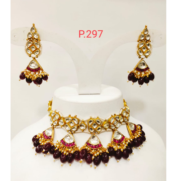 Traditional Kundan & ruby(Red) Pearl Choker Necklace Set 1231