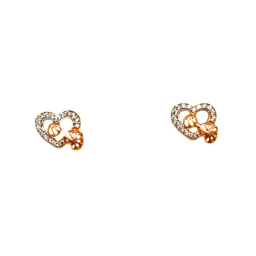 18K Rose Gold Heart Shaped Earrings MGA - BTG0006