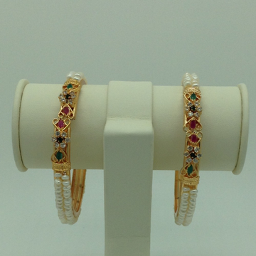 Pearls And Tri Colour CZ Stones 2 Layers Bangles JBG0084