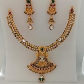 916 gold fancy zinkoriya Dimond & antique jadtar short set by Vinayak Gold