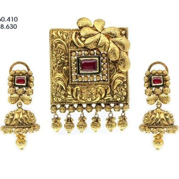 916 gold antique pendant set