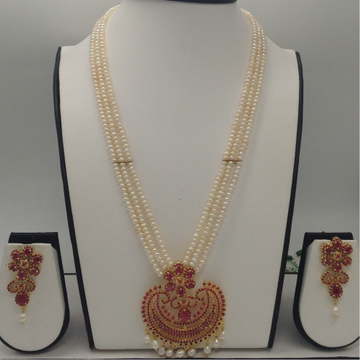Red CZ And Pearls Exclusive PendentSet With 3Line SeedPearls Mala JPS0420