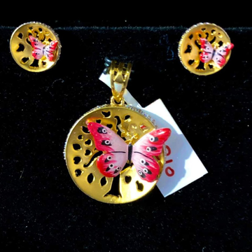 916 GOLD BUTTERFLY PENDANT SET by