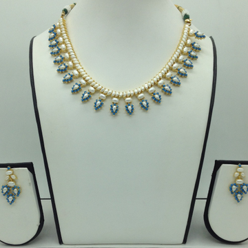 Freshwater White Button Pearls and Turquoise Necklace Set JNC0110
