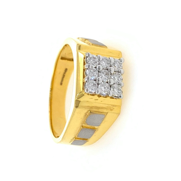 9 diamond with 3 squares gents ring in 18k yellow...
