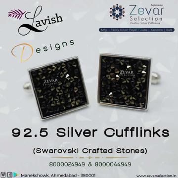 92.5 Silver Swarovski Hallmark Men Cufflinks