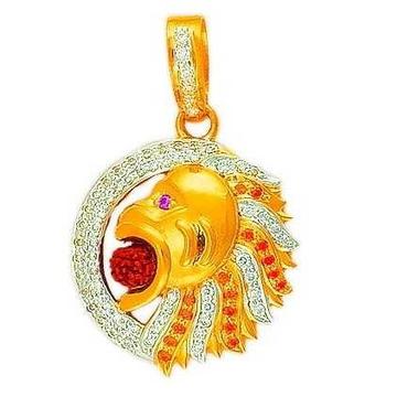 22K/916 Gold CZ Fancy Lion Pendent