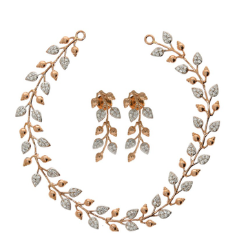 22kt, 916 Hall-Marked, white and rose gold leaf stem designed unique Necklace JKN014