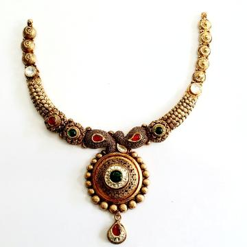 916 gold antique necklace set mga - gn012