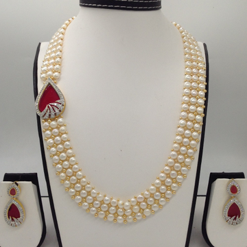 White And RedCZ BroachSet With 3Line ButtonJali Pearls Mala JPS0214