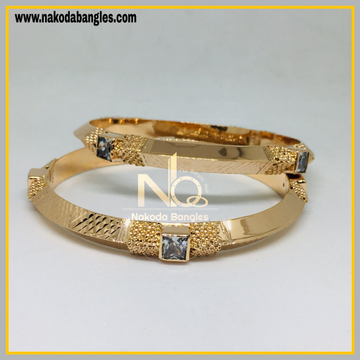 916 Gold Rose Gold Stone Fancy Bangles NB - 448
