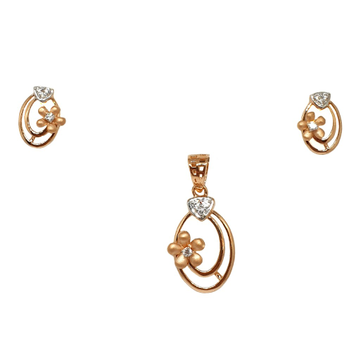 18K Rose Gold Flower Shaped Modern Pendant Set MGA - PTG0141
