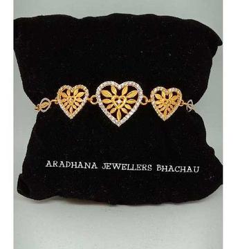 916 Gold Antique Heart Shape Ladies Diamond Bracelet