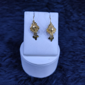 22KT/916 Yellow Gold Stacking Dersi Hanging Earrings GTB-15