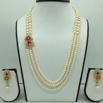Red And White CZ BroachSet With 3 Line Flat Pearl...