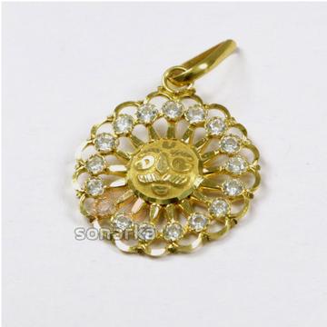 CZ 22k Gold Sun Surya Pendant