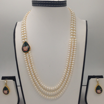 White crystal with flower enamelbroachset with 2line buttonjali and 3 line flat pearls mala jps0267