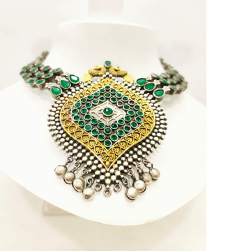 Emerald work with gold plated antique peacock design necklace set 1651