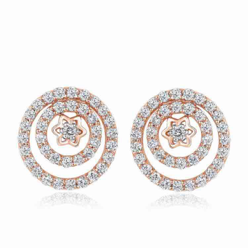 18KT Rose Gold Round Shaped Star Design Earring