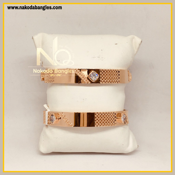 916 Gold Rose Gold Stone Fancy Bangles NB - 451