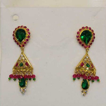 18KT Gold  Color stone Earring