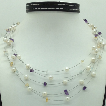 White Pearls with Semi Precious Chips 5Layer Wire...