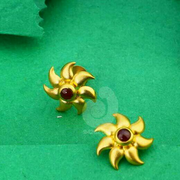 18ct Red Stone Cz Gold Tops