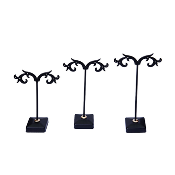 jewellery metal earring stand black color by