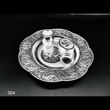 999 Silver Antique and light oxidised Thali set