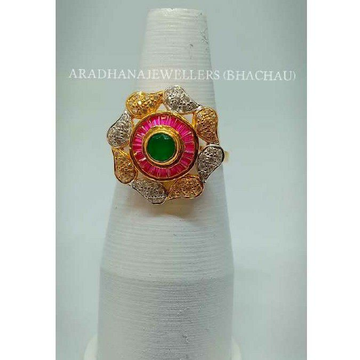 22KT Flower Shaped Colorful Ladies Ring