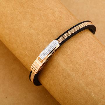 18KT Cz Rose Gold Delicate Leather Men's Bracelet MLB258
