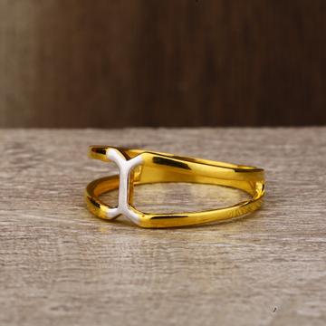 Ladies 22K Gold Designer CZ Plain Ring -LPR147