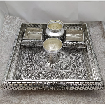 925 Pure Silver Antique Pooja Thali Set PO-263-37 by Puran Ornaments