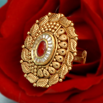 916 Gold Antique Red Stone Ring PJ-R001