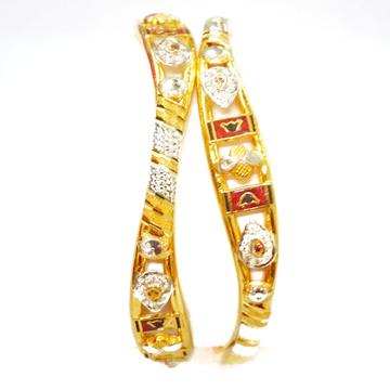 916 Gold CZ Diamond Kadli Bangles MGA - GK056