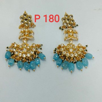 beautiful earrings with blue beads nd diamomds