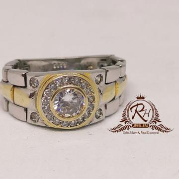 92.5 silver singel stone daimond gents ring Rh-Gr955