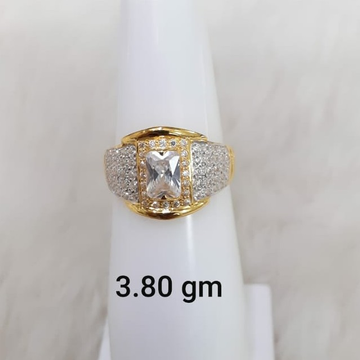 white stone solitaire gent's ring by