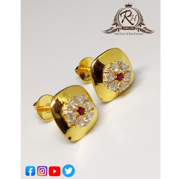 22 carat gold red stone traditional earrings RH-ER320