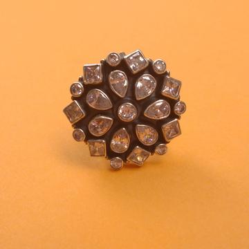 Puran pure silver white cutstone floral ring for l...