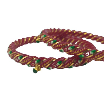 Gold Ras Chudi in cherry red color with beautiful... by