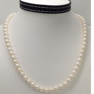 Freshwater round white pearls strand