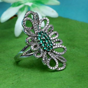 925 silver designer green stone ring for women pj-r028