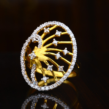 916 CZ Gold Featous Design Ring For women