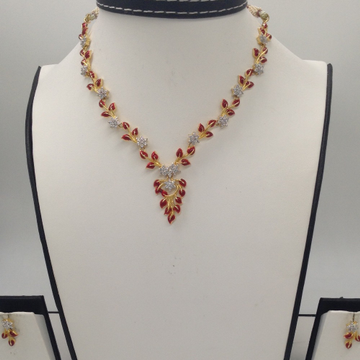 White CZ Stones Necklace Set With Red Enamel JNC00...